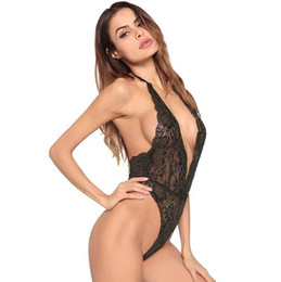 Wholesale 2018 new European and American brand adult sexy lingerie ladies pajamas solid color sexy Halter bodysuit