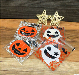 Discount plastic ghosts - Halloween Pumpkin Ghost Self-adhesive Bag Cookies Baking Package Plastic Bags Candy DIY Gift Bag 100pcs Per Set 10*10cm