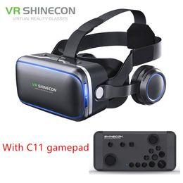 Auriculares auténticos de Shinecon 6.0 Pro VR Realidad virtual Teléfono inteligente Gafas 3D Auriculares Google BOX VR con mando a distancia para Android
