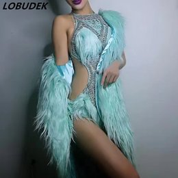Dancing Bodysuit Costume NZ - Sexy Hollow Crystals Bodysuit 3 Colors Feathers Cloak Coat Nightclub Female Singer Star Stage Costume Bar Party Show Dance Wears