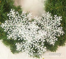 christmas ornament applique 2019 - New christmas tree snowflake ornaments White XMAS Christmas Snowflake Charms Decoration Ornaments Applique For Tree 11CM