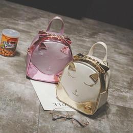 Shoulder Straps Backpack NZ - Travel Handbags Interior Zipper Pocket Pu Leather Female Schoolbag Cute Cat Ear Backpacks Shoulder Strap Girls Shoulder Bag