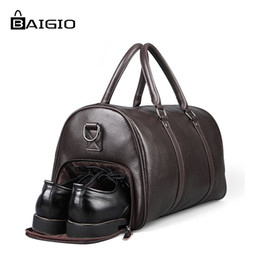 a1852ec99a81 Baigio Men Travel Bags Leather Big Large Capacity Genuine Leather Handbag  Luggage Weekend Duffle Bags for Business Traveling