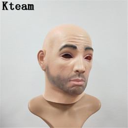 Dress Up Face Australia - Free shipping Halloween Party Cosplay Male Man Face Mask Latex Party Real Human Face Mask Cool realistic Crossdress mask Fancy dress up