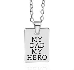 $enCountryForm.capitalKeyWord NZ - Men Jewelry Spcial My Dad My Hero Rectangle Pendant Necklace Chain Lettering Words Father's Day Love Family Party Father Gifts hot