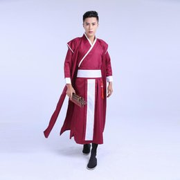 2017 Ancient Chinese Costume Men Stage Performance Outfit for Dynasty Men  Hanfu Costume Satin Robe Chinese Traditional Dress 7289ae522