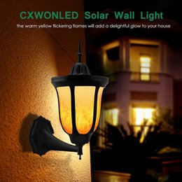 Wholesale New LED Torch Light LEDs Sensor Outdoor wall Lamp IP65 Waterproof Flickering Flames Solar Landscape Light For Garden Pathway Decor