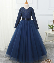 Kids girls long evening gowns online shopping - Long Sleeves Lace Tulle Flower Girls Dresses Jewel Neck Floor Length Communion Dresses New Kids Evening Gowns