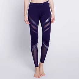 Discount new designs leggings - New Design Women Summer PU Leather Mesh Patchwork Hollow Leggings Fitness Sporting Breathable Leggins Sexy Slim Skinny T
