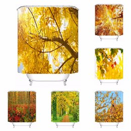 Custom Autumn Leaves Yellow Tree Waterproof Bathroom Acceptable Shower Curtain Polyester Fabric 180318 45 41