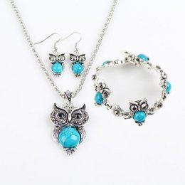american indian turquoise pendant 2019 - Silver Jewelry Sets Turquoise Owls Earrings Pendant Necklaces Bracelets Set for Women Girl Party Gift Fashion Jewelry Wh