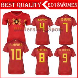 2018 World Cup Belgium Women Red Soccer Jersey LUKAKU DE BRUYNE Home Football  Shirts HAZARD National Team Short Jerseys Lady Uniforms bf6f63006