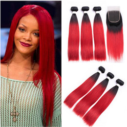 $enCountryForm.capitalKeyWord Australia - Two Tone #1B Red Ombre Brazilian Virgin Human Hair Weave Bundles with Closure Straight Ombre Red Lace Closure 4x4 with Weaves Double Wefts
