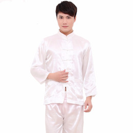 df91408641 White Chinese Style Men Rayon Soft Pajamas Suit Long Sleeve Shirt Pant  Sleepwear Vintage Single Breasted Pyjamas M L XL XXL
