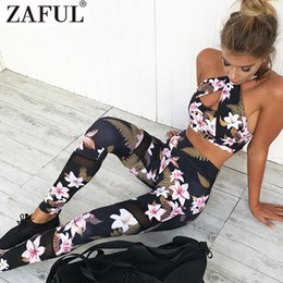 ladies gym suit Canada - Wholesale-Zaful Fitness Sports Tracksuit Floral Gym Clothes Camisole Print Patchwork Leggings Yoga Suit Ladies Workout Set Sexy Women