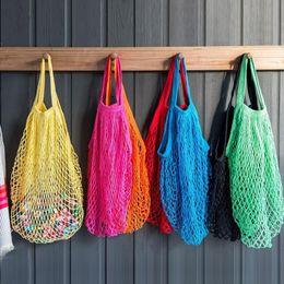 Sıcak Satış Kullanımlık Dize Alışveriş Bakkal Çanta Shopper Tote Mesh Net Dokuma Pamuk Çanta Taşınabilir Alışveriş Çantası