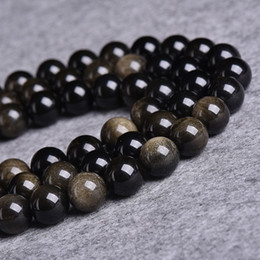 $enCountryForm.capitalKeyWord NZ - Black Obsidian Round Smooth Beads Semi Precious Stone Handmade Jewelry Beaded Bracelet Loose Spacer Bead 4 6 8 10 12mm Size Choice Strand
