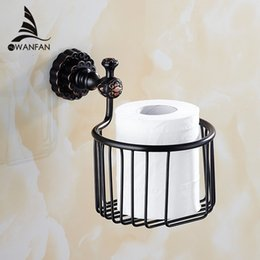Wholesale Paper Holders Solid Brass Bronze Toilet Paper Basket Bathroom Shelf Wall Mounted Bathroom Accessories WC Tissue Holder FE