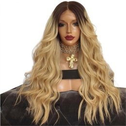 $enCountryForm.capitalKeyWord Australia - Hot Sale Dark Root Ombre Blonde Long Natural Wave Wigs 2 Tones Synthetic Lace Front Wig Heat Resistant Middle Part Fashion Women Wig