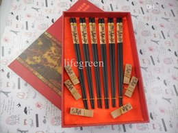 Wholesale wood panda for sale - Group buy Pairs set Natural Black Wooden Panda chopsticks Chinese Style Chopsticks Gift set