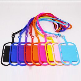 Cell Phone Pouch Neck Australia - Silicone Lanyards Neck Strap Necklace Sling Card Holder Strap keychain for Universal Mobile Cell Phone phone case