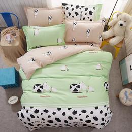 Cartoon Milk Cow 4pcs Bedding Set Cute Bed Sheet Linen Duvet Cover Happy  Farm Bedclothes Pillowcases Bed Set Kids Lovely Bedding