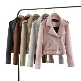 $enCountryForm.capitalKeyWord UK - 2018 New Autumn Witner Women Motorcycle Faux PU Leather Red Pink Jackets Lady Biker Outerwear Coat with Belt Hot Sale 6 ColorY1882402