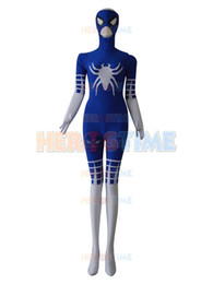 2018 traje do homem aranha Azul Royal Branco Estilo Especial Spider-man costume custom made spiderman zentai terno