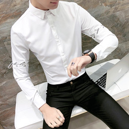 08838c5f3c0 mens night shirts 2019 - Spring Tuxedo Shirt Men Fashion 2018 Removable Long  Sleeve Party Dress