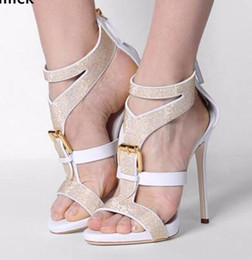 Buckle Backs Canada - Elegant Black White Stiletto Sandals Big Front Buckle Design Sliver Rivets Studded Sandals Extra High Heels Back Zip Shoes