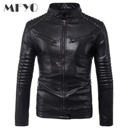 Wholesale lether jackets resale online - Brand New Motorcycle Male PU Leather Jackets PU Casual Stand Collar Slim Fit Lether Inverno Couro Mens Stand Collar Jacket XL