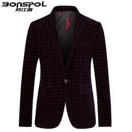Discount korean fitted dress - Brands BONSPOL Men's suit jinsirong autumn new Slim small suit business casual Plaid Korean western Slim Fit dress