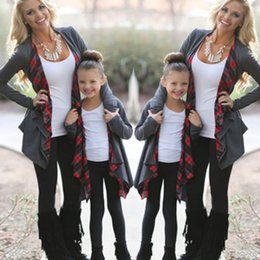 $enCountryForm.capitalKeyWord Canada - New Arrival Plaid Patchwork Autumn Long Sleeve Family Outfits Clothing Mother Daughter Cardigan Sweater Outwear Jacket Fashion