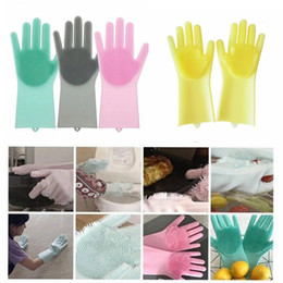 $enCountryForm.capitalKeyWord NZ - Magic Silicone Dish Washing Gloves Eco-Friendly Scrubber Cleaning For Multipurpose Kitchen Bed Bathroom Hair Care MMA834 6pair