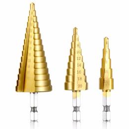 Drilling Cutter Australia - Metal Drill 4-12 20 32mm Step Drill Bit Spiral Flute HSS Steel Cone Titanium Coated Mini Drill Bit Tool Set Hole Cutter