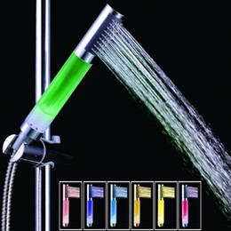 Water Color Change Plastic Australia - 1Pc Handheld 7 Color Changing LED Romantic Automatic Shower Bath Shower Head