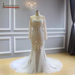 AmAndA noviAs online shopping - 2018 New Design Amanda Novias Mermaid  Wedding Dress Real Work Brand e4712d05f2da