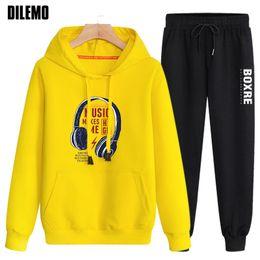 yellow black men tracksuit 2019 - 2018 New Fashion Hoodies Suit Men Pullover Cotton Spandex Trendy Street Sweatshirt Korean Black Tracksuit Casual Mens Cl