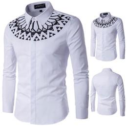 95fbd508dd Camisas de manga longa de tamanho grande Mens Slim Fit camisa branca  impresso masculino camisas de vestido M - 5XL