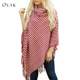 China OEAK 2018 New Autumn Winter Women Pullover Sweater Ladies Fashion Striped Knitted Shawl Scarf Collar Tassels Fringe Cloak Jumper cheap knitted scarf sleeves suppliers