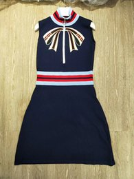 Hot long dresses women online shopping - Hot New Designer Dark Blue Stand Collar Sleeveless Knitting Women Dress Letter Embroidery Brand Same Style Vestidos