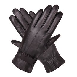 China Leather Gloves Man Winter Plus Velvet Thicken Keep Warm Windproof Touch Screen Driving Genuine Leather Gloves Male M18005NC-9 supplier velvet touch gloves suppliers