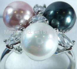 $enCountryForm.capitalKeyWord Australia - FREE SHIP >>>>>Black White Purple South Sea Shell Pearl Crystal Ring size:6.7.8.9