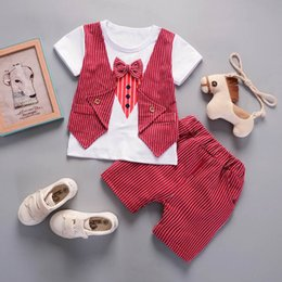 55c33e1eb0a2 2018 New Baby Boys Vest Pant Toddler Outfits Sets Red Europe Style Striped  Two-piece Suits Gray 6 month 1 2 years old Clothes