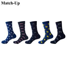 Sock Packs Australia - Match-Up Men Cartoon Cotton Socks Art Patterned Casual Crew Socks 5-Pack Shoe Size 6-12