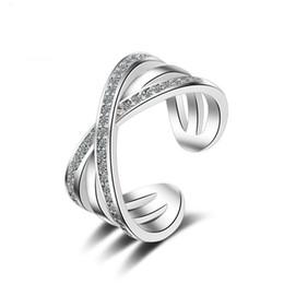 796a2b31b75e Los anillos dobles para las mujeres letra doble X anillo de la forma del  color de plata geométrica zirconia micro pavimentado anillos para mujeres  regalo de ...