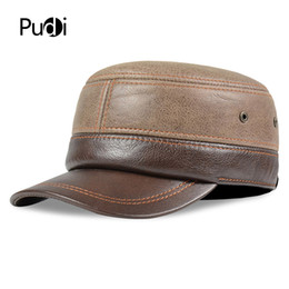 317425b40e2 HL185 Genuine leather baseball cap hat old mens winter brand new real  leather army hats caps with ear flap one size