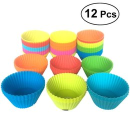 Cupcake Muffins Cake Australia - 12 Pieces 7cm Round Silicone Reusable Baking Cake Molds Jelly Mould Cupcake Maker Muffin Cup (Random Color) AJI-995