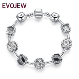 Silver cryStal ball bracelet online shopping - EVOJEW Antique Silver Round Charm Bracelet Bangle with Clear CZ Crystal Ball Beads Bracelet Jewelry Making Drop Shipping