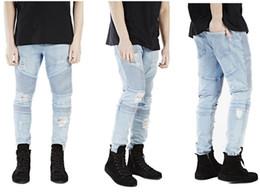 61e4f8caa2110 2018 Mens Pleated Jeans Street Mens Ripped Rider Biker Jeans Slim Fit Washed  Black Blue Moto Denim Pants Joggers For Skinny Denim Pants